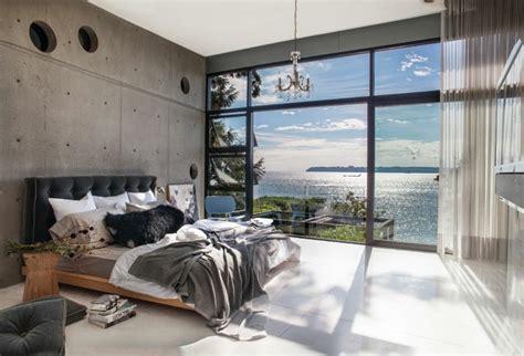 schlafzimmerwand leuchter wohneinrichtung ideen mit wandverkleidung aus beton und