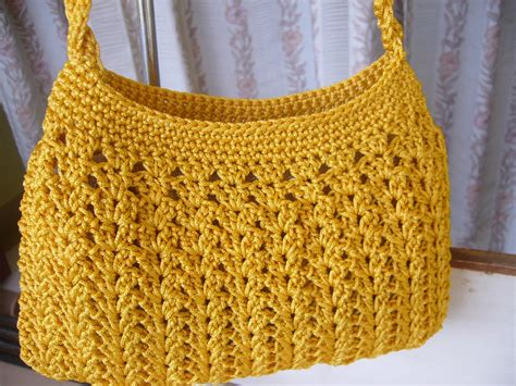 How To Make Macrame Bags - crochetkari golden yellow crochet purse