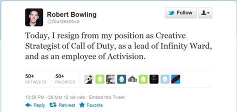 robert bowling quits infinity ward