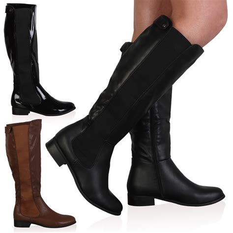 new womens faux leather flat knee high