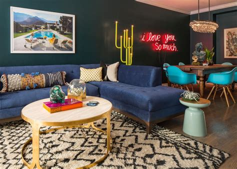 blue eclectic living  dining room  neon sign hgtv