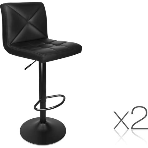 Leather Gas Lift Bar Stools by 2x Gas Lift Pu Leather Padded Bar Stools In Black Buy Sets Of 2