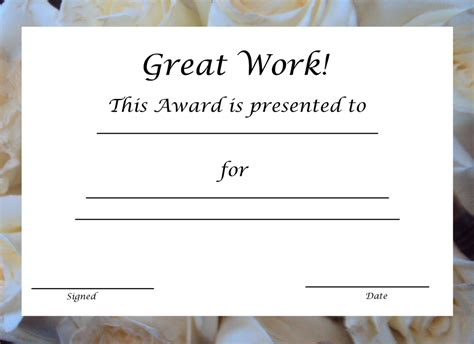 blank award certificate templates certificate templates