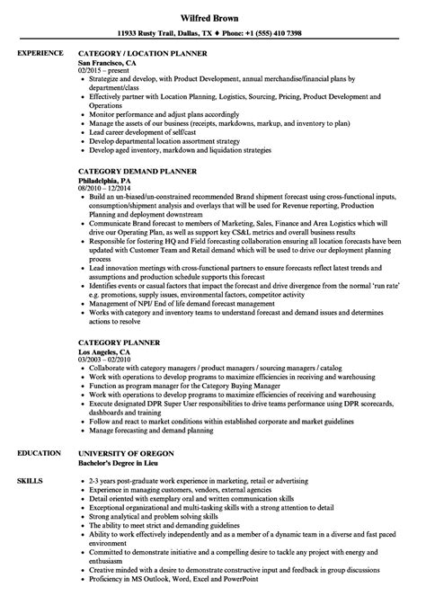 category planner resume sles velvet