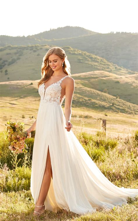 summer lace wedding dress  sheer bodice martina liana