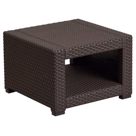 rattan accent tables faux rattan end table chocolate brown in patio side tables
