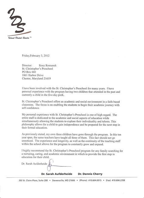 Recommendation Letter For Preschool From Parent Letter Of Recommendation For Preschool From Parent Recommendation Letter