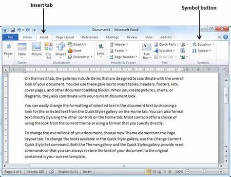 tutorialspoint list special symbols in word 2010
