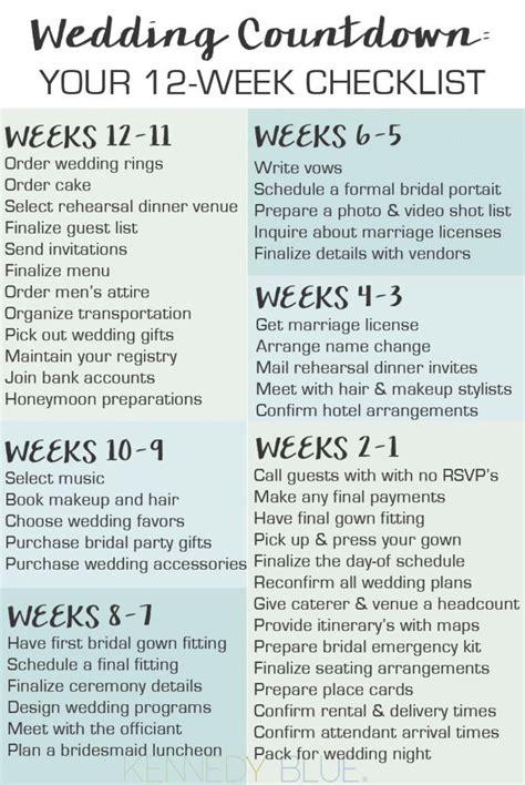 Wedding Countdown Checklist Uk by Wedding Countdown Your 12 Week Checklist Wedding