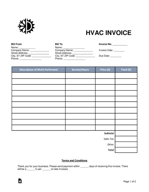 hvac receipt template free hvac invoice template word pdf eforms free