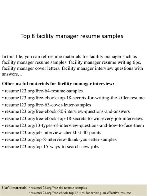 Facilities Specialist Sle Resume by Top 8 Facility Manager Resume Sles