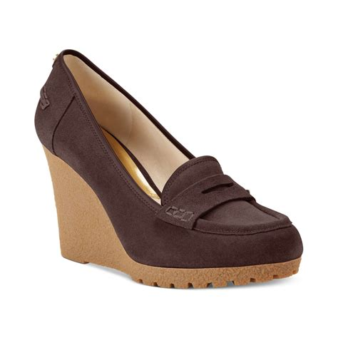 loafer wedges michael kors michael rory loafer wedge pumps in brown