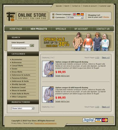 online store free template free templates online