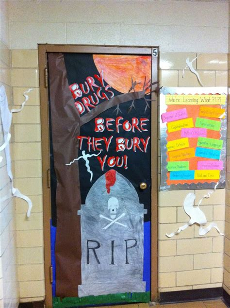 Pinterest Halloween Decorating - halloween themed red ribbon door escuela pinterest bulletin board hallway bulletin boards