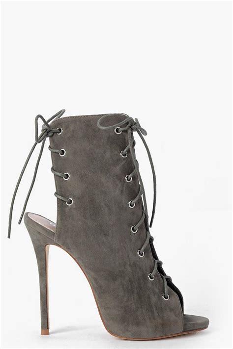 lace up peeptoe shoe boot boohoo