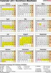 Kalender 2018 Nrw Xls Kalender 2017 Nrw Ferien Feiertage Excel Vorlagen