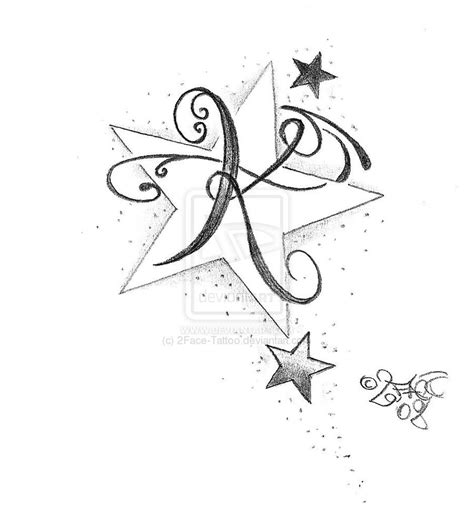 tattoo fonts with stars cool letter e designs