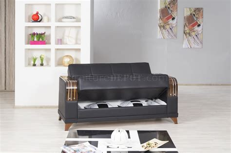 Azmeela Almira Classic Black almira sofa bed in zen black leatherette by casamode w options