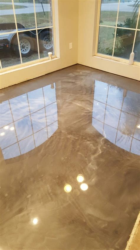 titanium and pearl reflector metallic epoxy floor by RAS