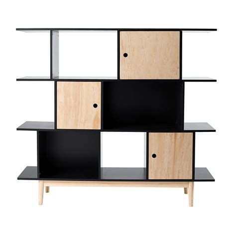 black wood bookshelves black wooden bookcase l 145 cm happy maisons du monde