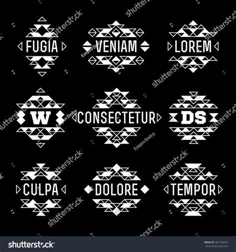 primrose tattoo with geometric border set vector abstract aztec ethnic stock vector