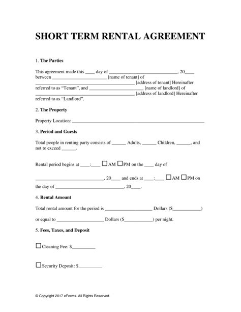Vacation Rental Lease Agreement Template