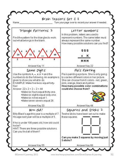 printable games for your brain math problems and math brain teasers cards set c