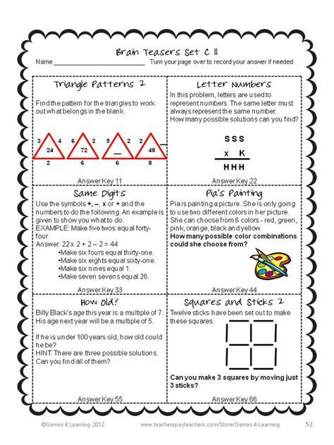 printable logic puzzles brain teasers math problems and math brain teasers cards set c