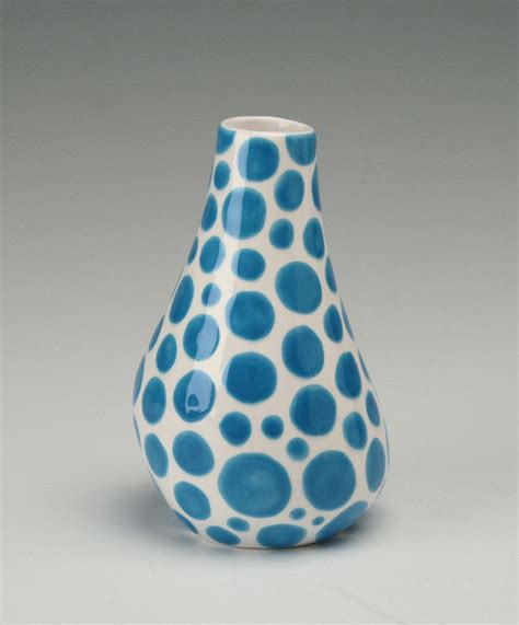 Polka Dot Vase by Turquoise Aqua Blue Vase Organic Shaped Polka Dot Painted