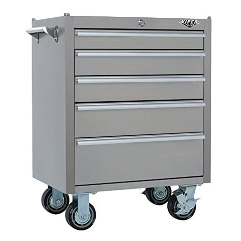 stainless steel rolling cabinet viper tool storage v2605ssr 26 inch 5 drawer 304 stainless