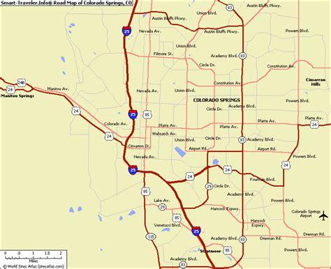 colorado road map map of colorado springs my