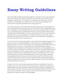 Guidelines On How To Write An Essay guidelines to write an essay