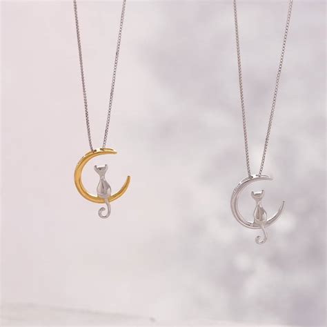 Moon And Cat Necklace silver cat the moon necklace by attic