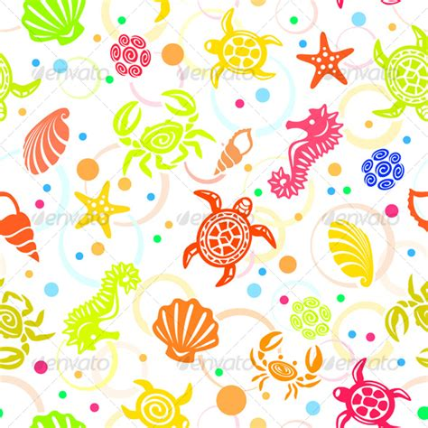 ocean pattern vector seamless tropical sea life vector pattern by abrams