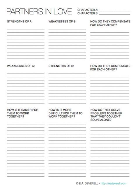 Character Development Worksheet Pdf by Character Development Worksheet For Writers Free