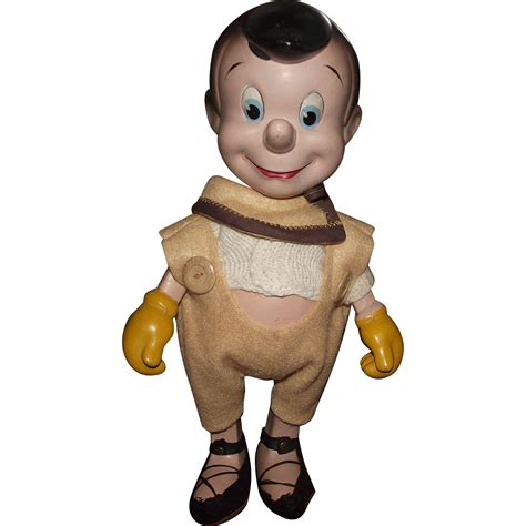 composition pinocchio doll vintage composition wood walt disney knickerbocker