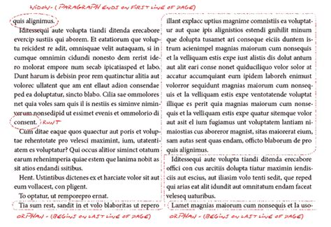 book layout widows and orphans proposed standards for book typography