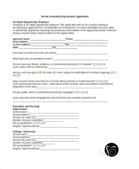 Dental Assistant Application Template 33 Application Templates In Word Free Premium Templates