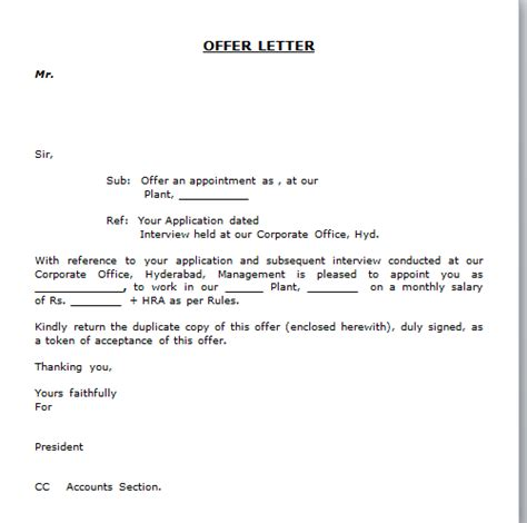 Indian Employment Letter Format Offer Letter Format Free