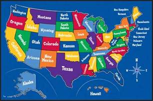 Map Of All States by Educational Rugs Kids Play Rugs