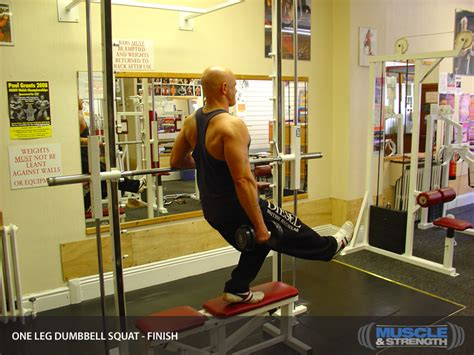 squat on bench bench one leg dumbbell squat video exercise guide tips