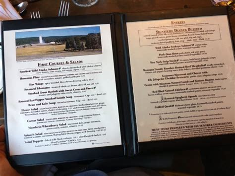 old faithful inn dining room menu menu picture of old faithful inn dining room yellowstone national park tripadvisor