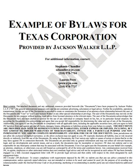 corporate bylaws template free word templates