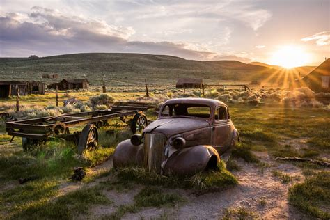 Landscape Photography Vehicle Classic Car Bodie Ghost Town In A Breaking Thundersto