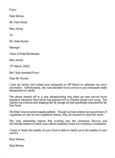 Business Letter Exle For A Complaint complaint letter exle 12 letter of complaint templates