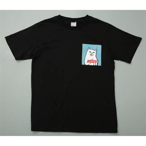 supreme shirt supreme ripndip cat t shirt black