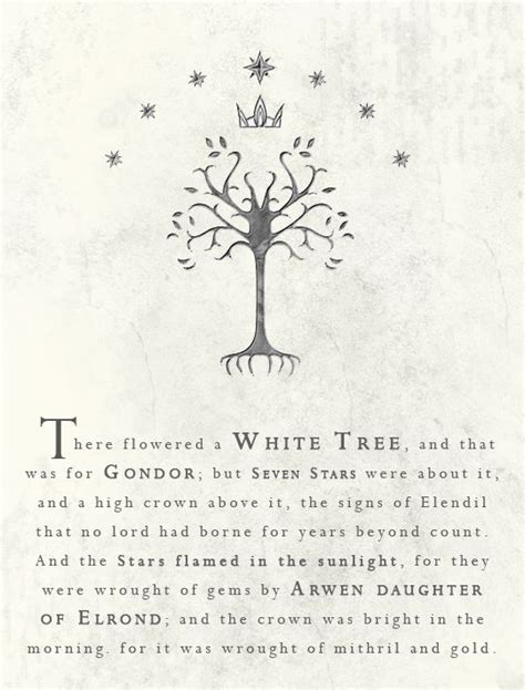 white trees tree of gondor and tolkien quotes on