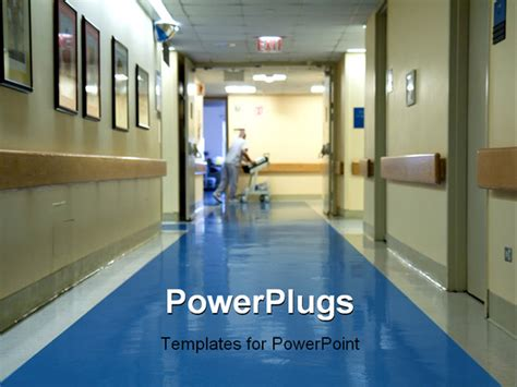 Free Ppt Templates For Hospital Management | hospital corridor with a blurred figure of a nurse moving