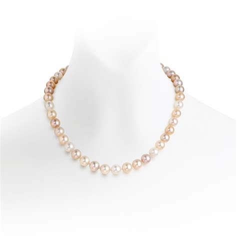 luxury multi coloured freshwater pearl necklace with 18ct