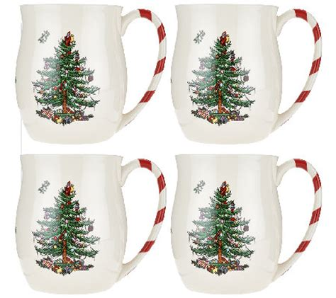 spode christmas tree candy cane handle mugs spode tree s 4 14 oz mugs qvc